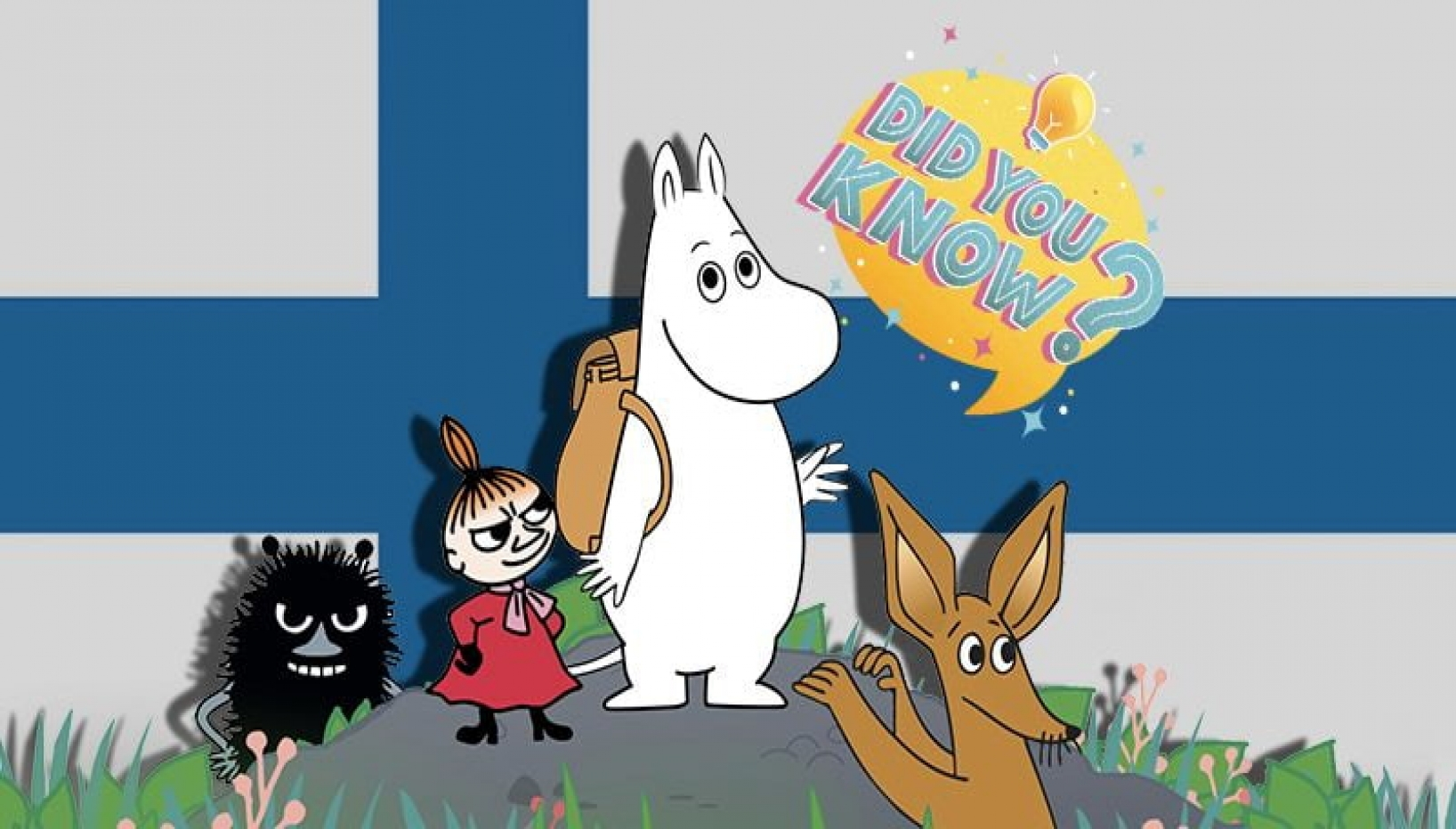 Moomin characters and Finland flag
