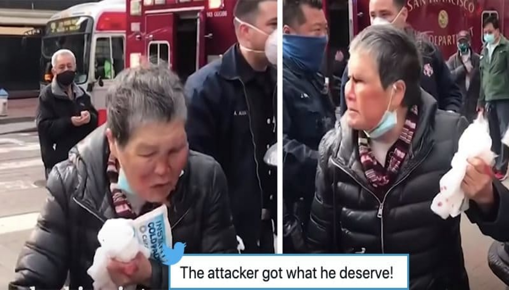 Bleeding man in stretcher angry woman picture side by side