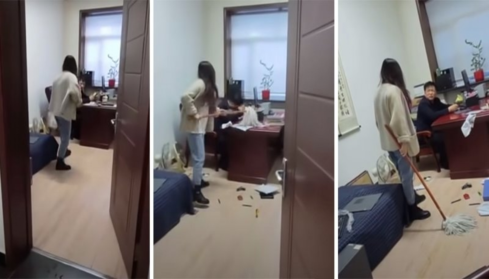 A Chinese Woman Was Harassed By Her Boss; She Attacked Him With A Mop