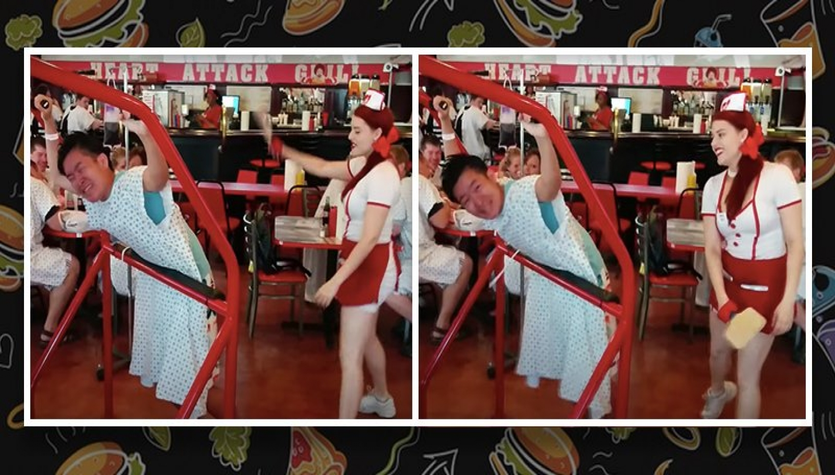 A person getting spanked at heart attack restaurant