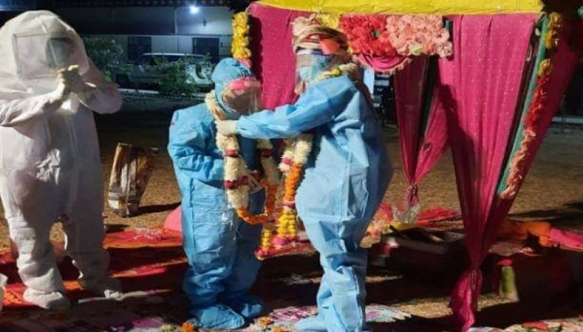 Indian Couple Gets Married In Hazmat Suit After Bride Tests Positive For Covid-19