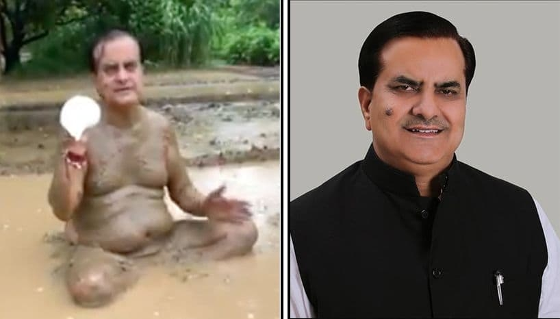 Indian Politician claiming Mud bathing protects against corona tests positive for the virus.