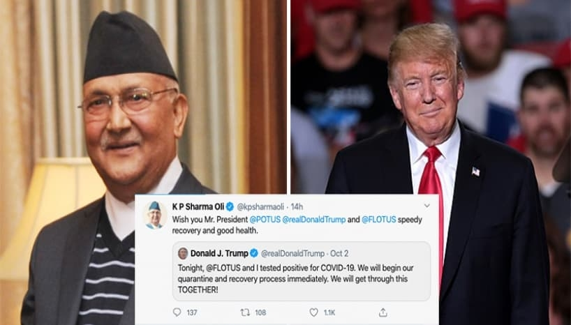 """Jokes About """"Besar Pani"""" Floods Twitter as KP Oli Wishes Donald Trump A Speedy Recovery"""