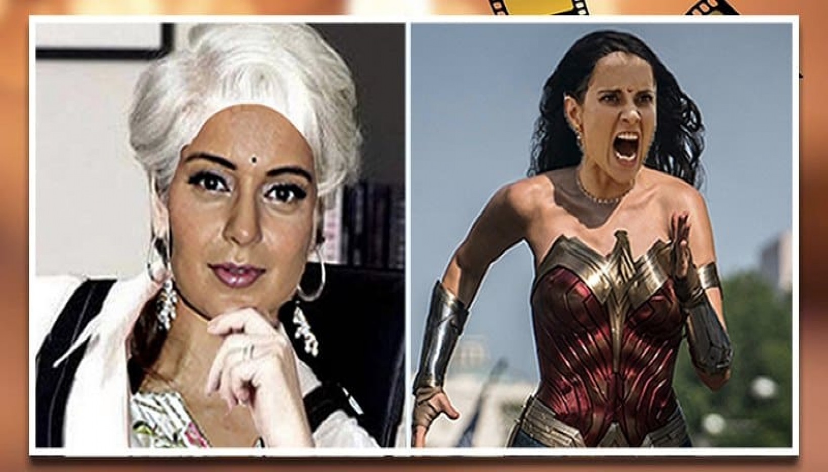 Kangana with white hair and as Wonder Woman side by side picture
