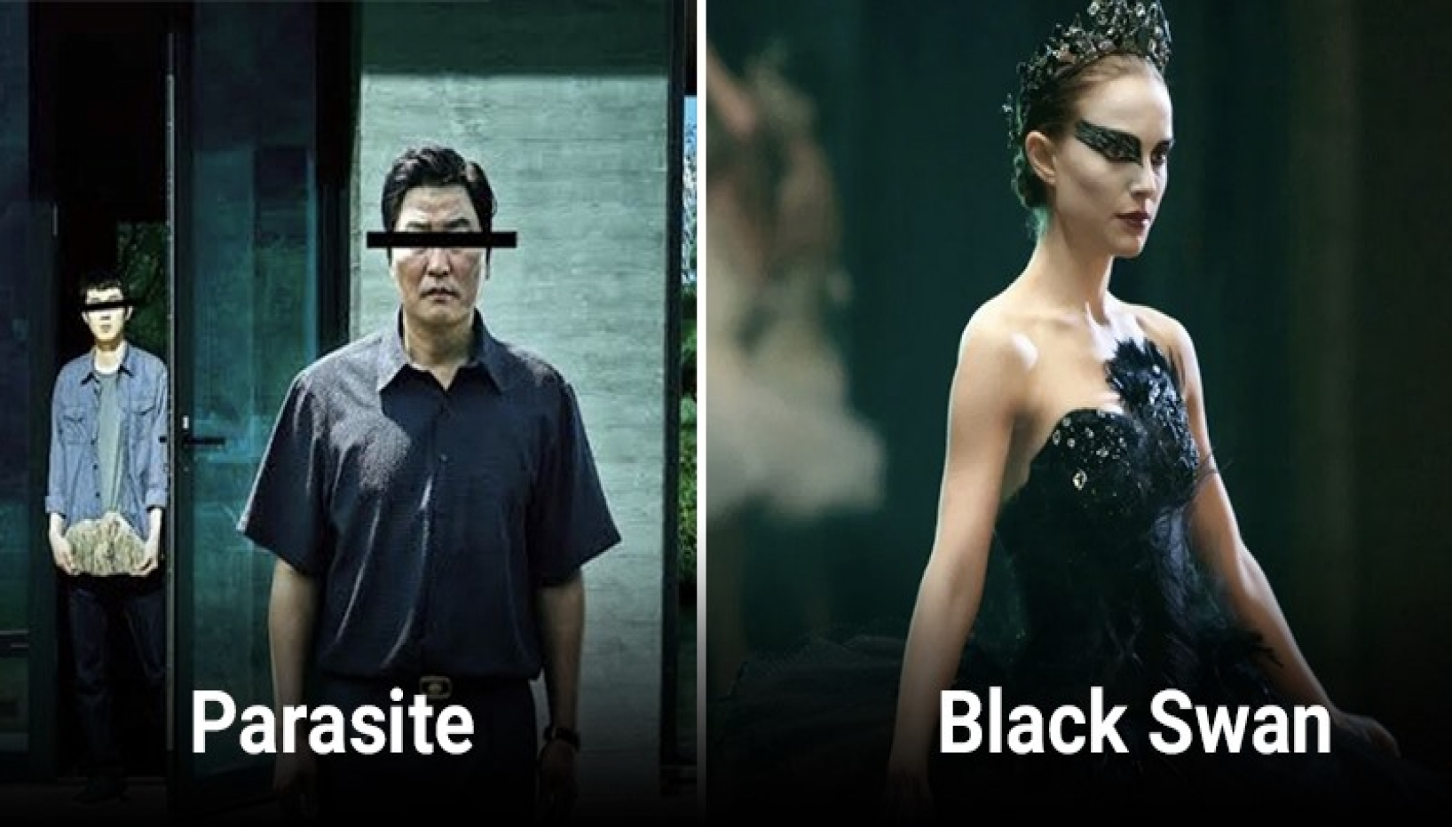 posters for parasite and black swan, both psychological thrillers