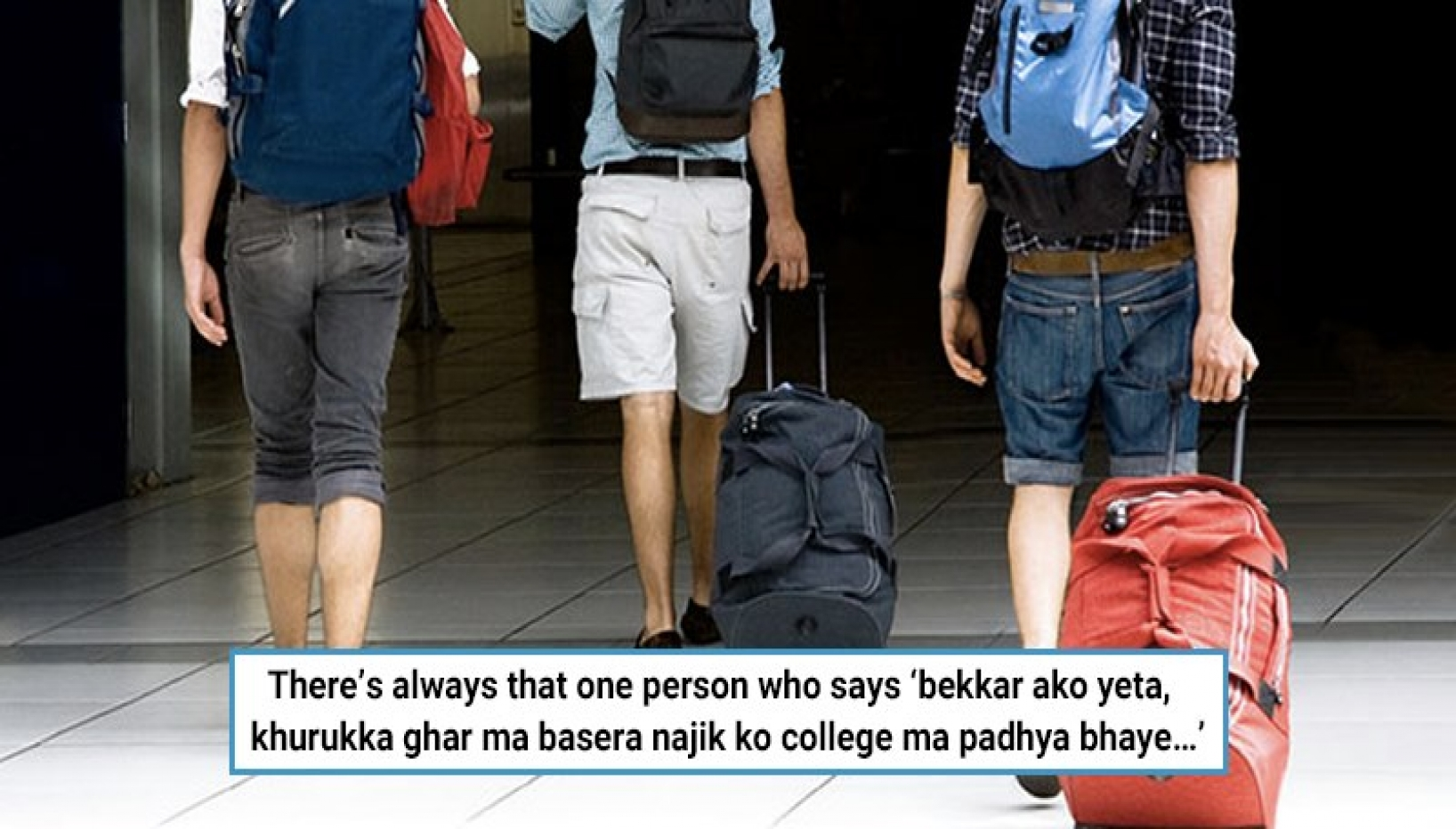 People leaving with a suitcase with a caption that relates to the topic of types of Nepali students liiving abroad