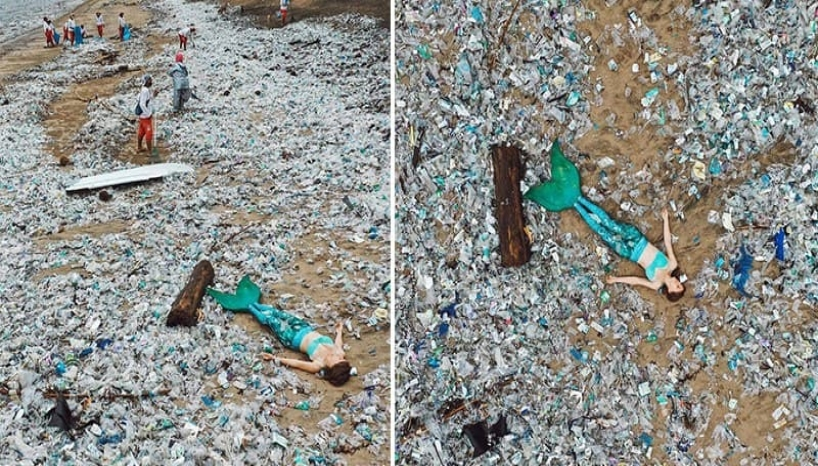 Ocean Advocate Goes Viral After Dressing Up As A Mermaid And Lounging On A Plastic Filled Beach