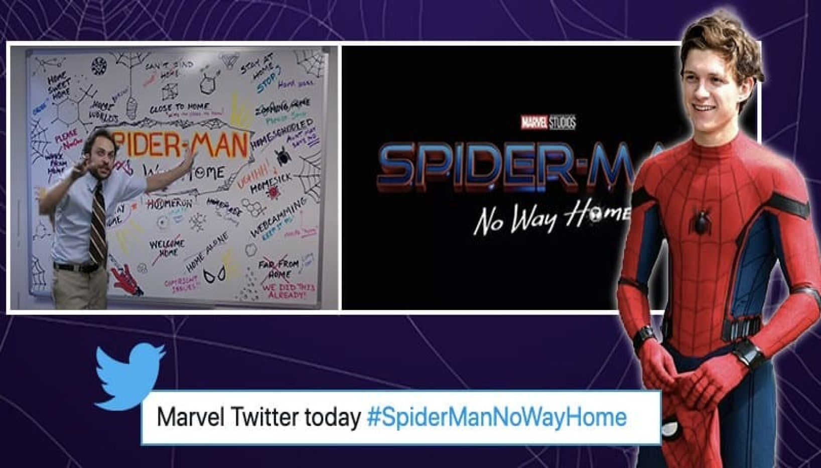 Man in spider suit white board side by side