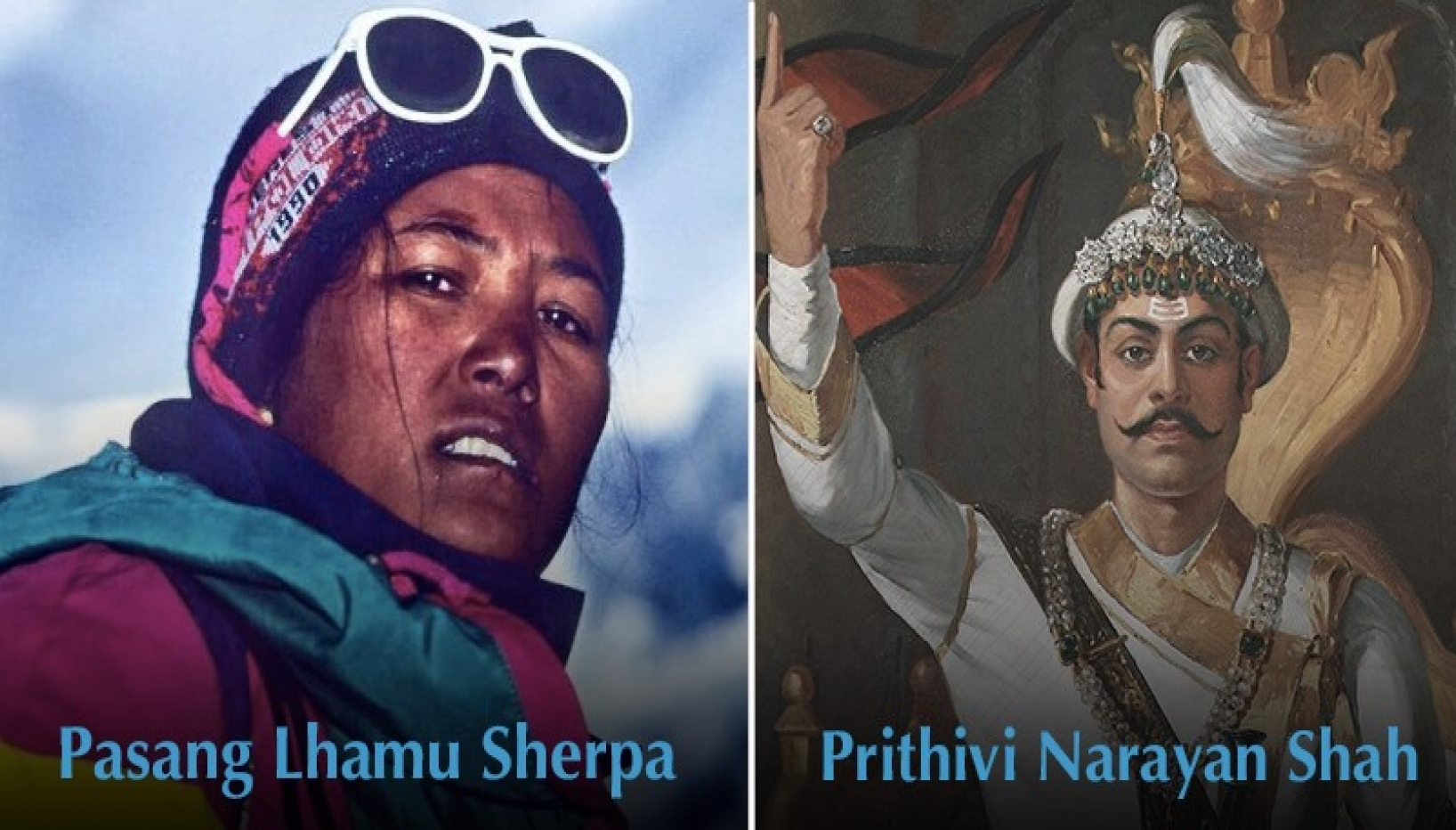 A woman on a mountain and a king picture side by side